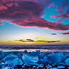 "Sun rising over black ""diamond"" beach (ice broken off a glacier)...Iceland"