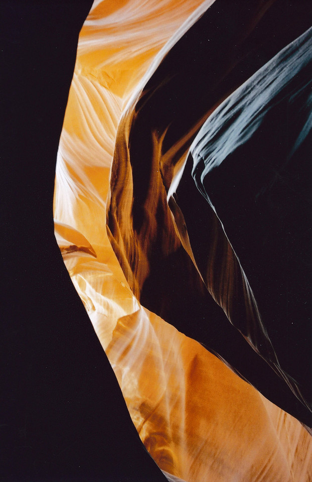 Light patterns in Antelope Canyon (page Arizona, 2002)