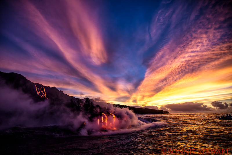Lava entering the Ocean at Kamokuna sunrise