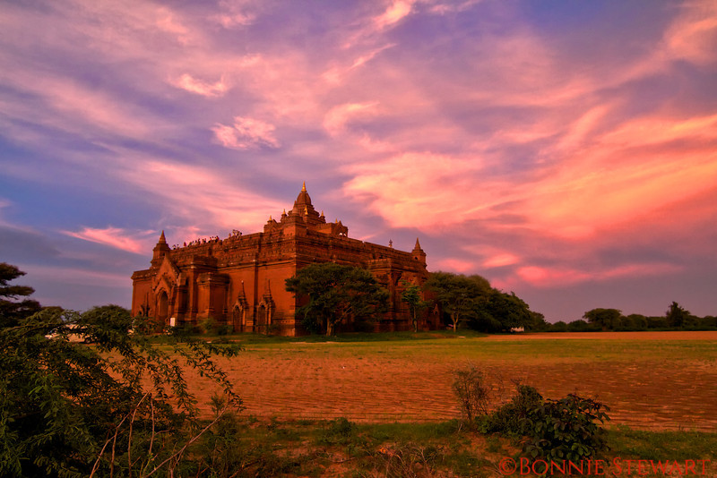 Ancient Temple at sunset in Bagan