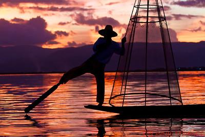 Local fisherman at sunset