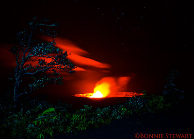 Kilauea Caldera at night