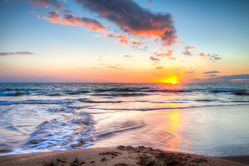 Sunset, Hapuna Beach, Big Island of Hawaii.