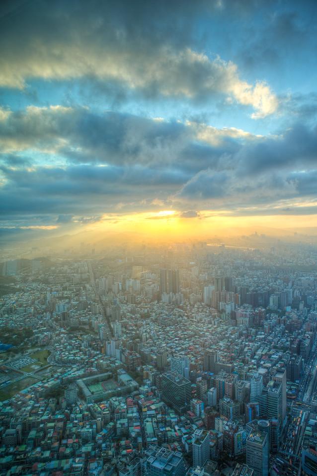 Skyline of Taipei at sunset