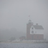 lighthouse in the fog - Mackinac Island, MI
