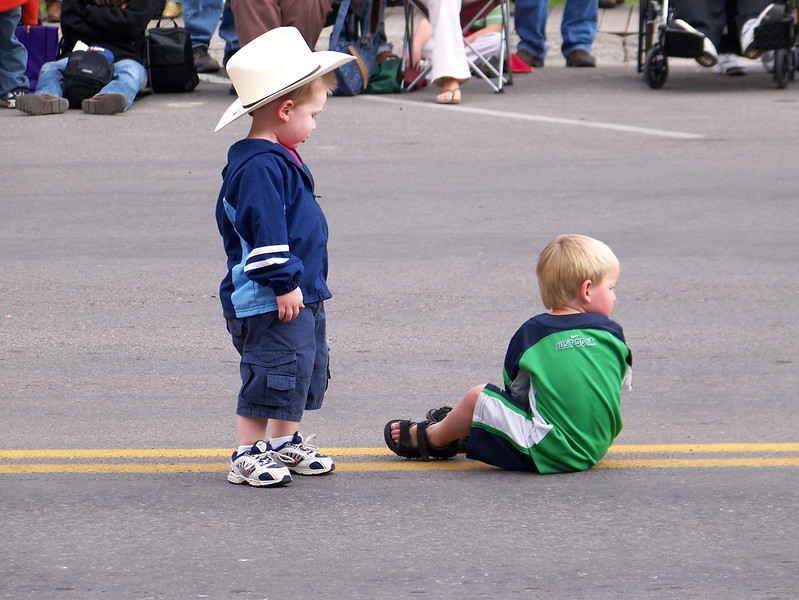 Waiting for the parade, Jackson, WY