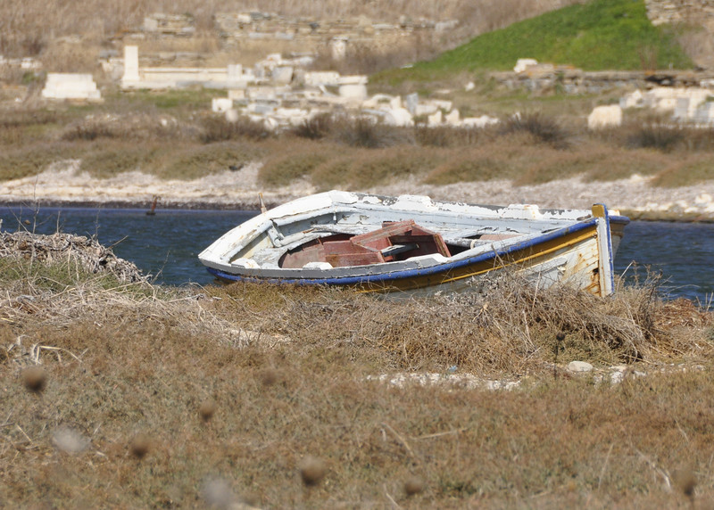 A derelict boat on the island of Delos, Greece.