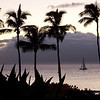 While walking along the beach in Kaanapali Maui in 2006, a boat sets sail.