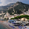 Panoramic shot of Amalfi Italy and its beach