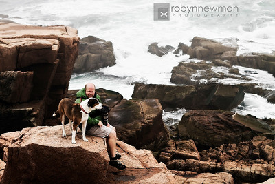 Steve and Romeo near Thunder Hole in Acadia National Park (Mount Desert Island, Maine)