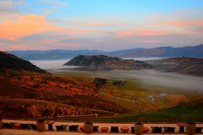 Sunrise on the Patio of The Armangani ,  Jackson, Wyoming - September  2014