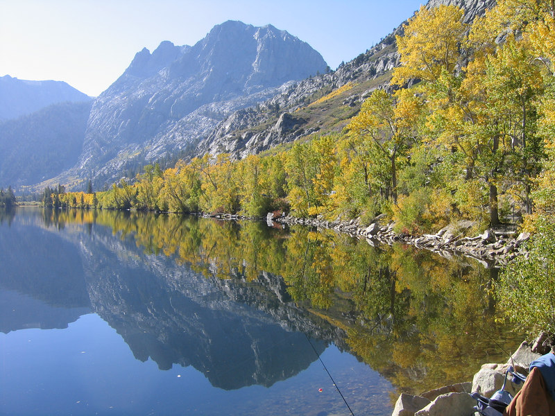 Silver Lake reflections in the Eastern Sierra.<br /> This was taken early morning with trees in their late fall colors.