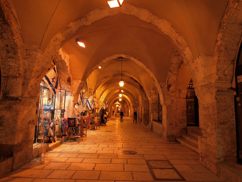Jerusalem; part of the ancient Cardo has been converted into a modern shopping area