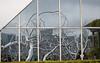 Art exhibit reflection off the window panes, The Metropolitian Museum of Art, New York City.  Roxy Paine exhibit.