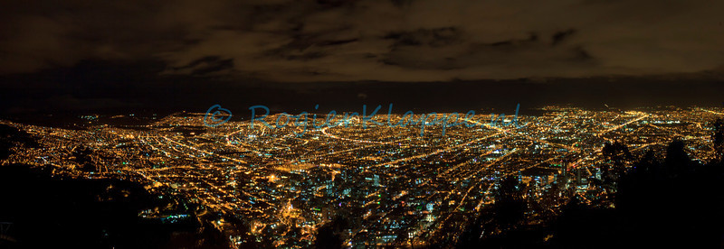 Panorama Bogotá by night seen from Monserrate-Bogotá