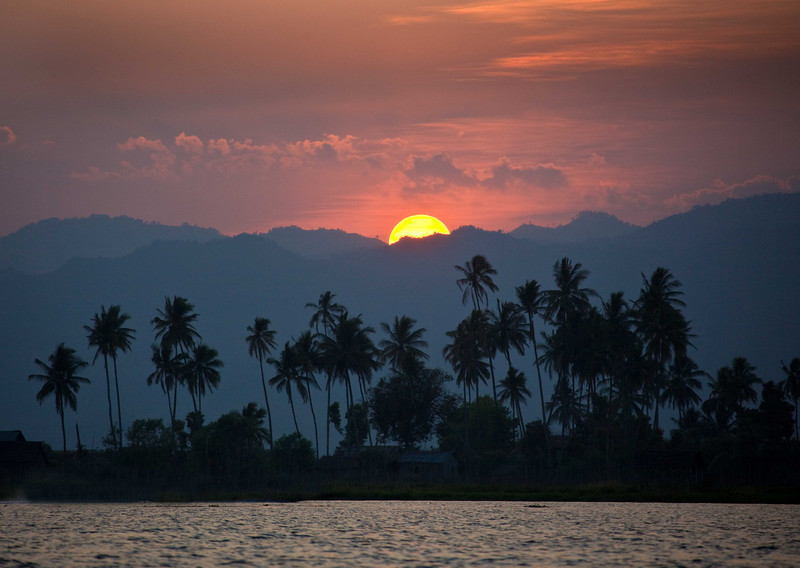 Sunset on Inle Lake, Burma