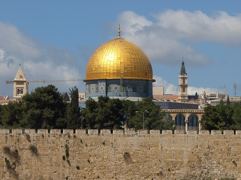 Jerusalem, Dome of the Rock, flanked by towers from the Churches of the Redeemer (left) and St. Savior (right)