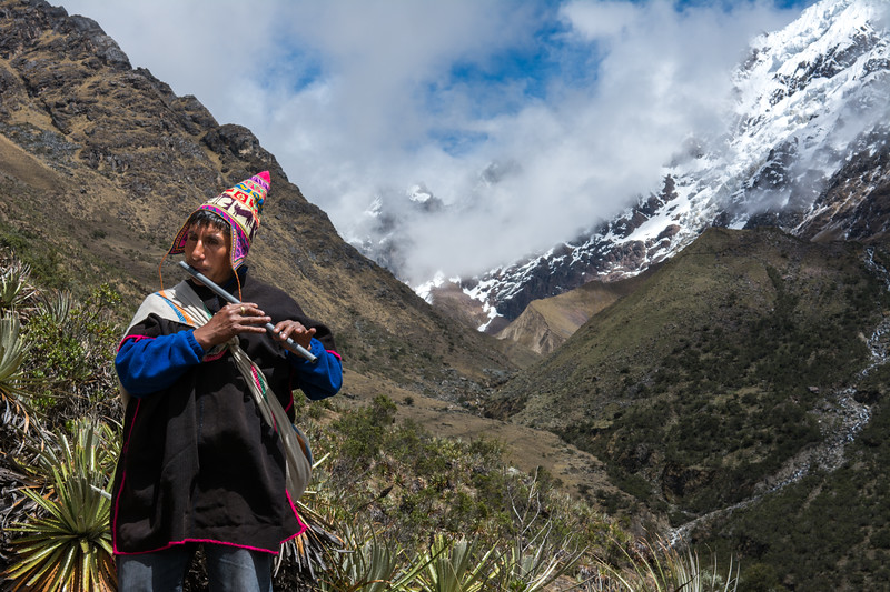 Santos plays flute and leads us along the trail to Humantay Lake.