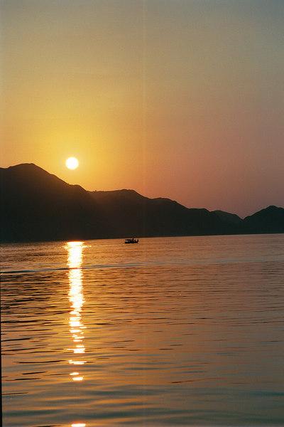 Sunset over Komodo Island in Indonesia