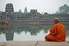 A Buddhist Monk meditating at Angor Wat, Cambodia