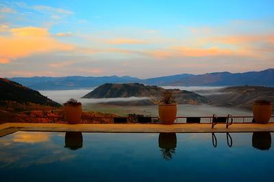 Sunrise at the Pool and patio of The Armangani,  Jackson, Wyoming - Sept 2014
