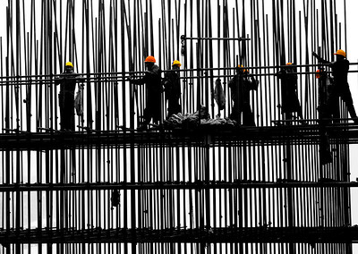Men on Scaffold-Ming River Dam, China