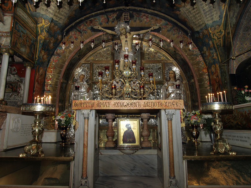 Jerusalem, Church of the Holy Sepulchre; Greek Orthodox chapel marking the site of the Crucifixion.  On either side, encased in glass, is the top of the hill of Calvary; a crack in the rock is said to have occurred at the moment of Christ's death.