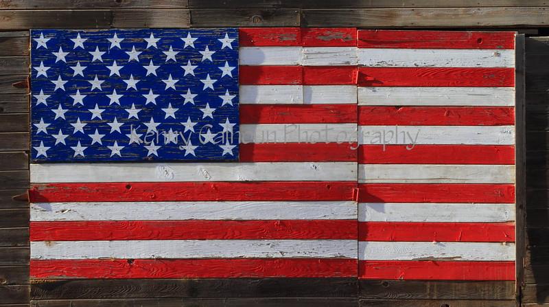 American Flag On A Barn
