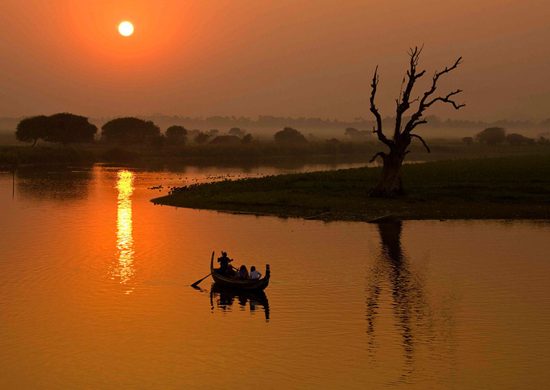 Sunset on the Irrawaddi River-Burma