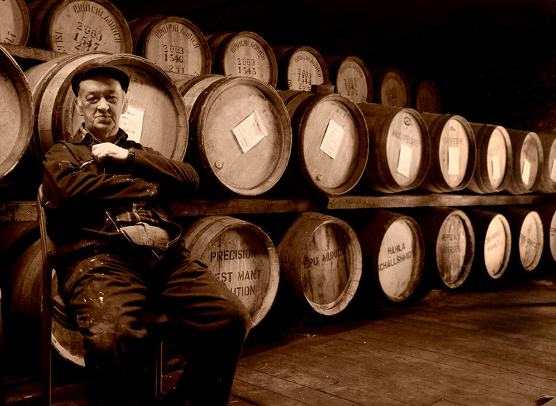 Duncan MacTagart and Scotch, Both Aging-Bruichladdie Distillery, Isle of Islay, Scotland
