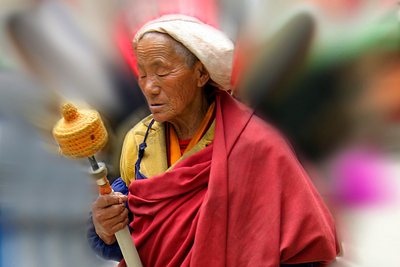 Woman With Prayer Wheel-Lhasa,Tibet