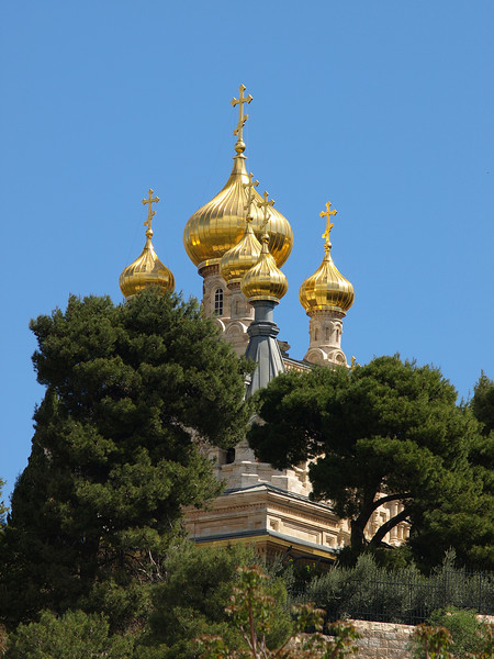 Jerusalem; golden domes of the Church of Mary Magdalene.