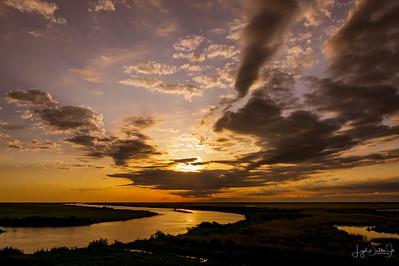 Sunrise on the Bridge over the Intercoastal Waterway at High Island, Texas