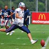 New England Patriots kicker Stephen Gostkowski 3 kicks a practice kick in training camp