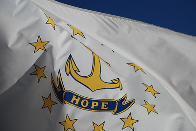 Picture of the Rhode State Flag and with the state motto: HOPE