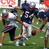 Linebacker Tedy Bruschi (54) and Cornerback Ellis Hobbs (27) going to recover receiver Jabar Gaffney's (10) fumble