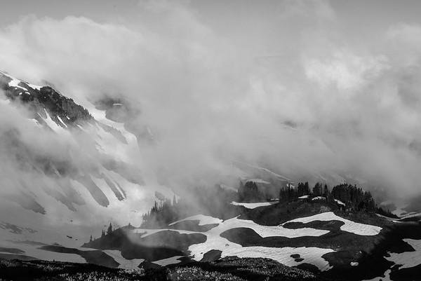 Foggy morning on the Glacier Peak Wilderness, Washington Cascades