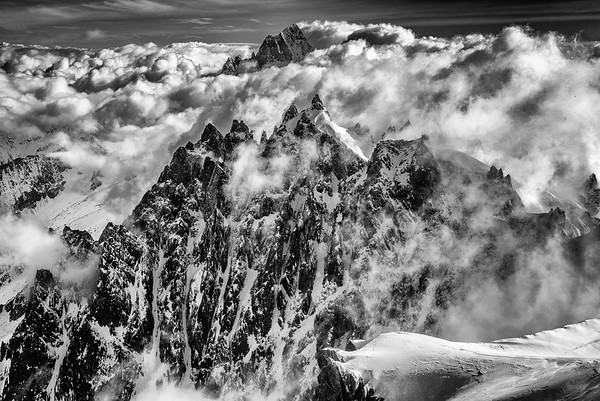 Cloudy morning on the Aguille du Midi, Chamonix, France