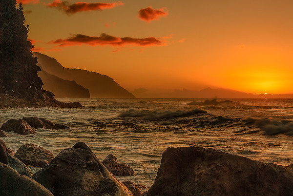 Coastal sunset.  Hanalei, Kauai, Hawaii
