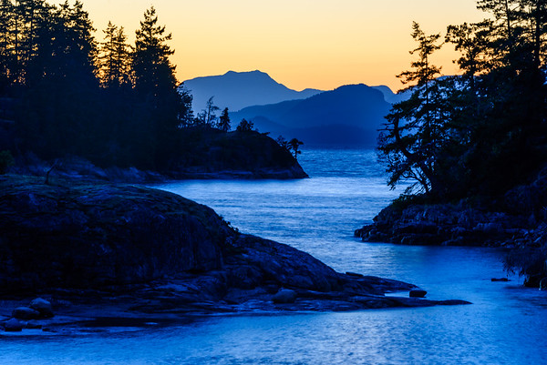 Evening light.  Desolation Sound, British Columbia