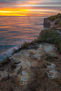 Sunrise on the California coast. Santa Cruz, California