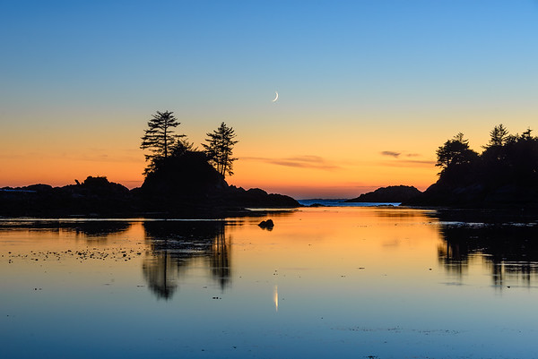 New moon in the Broken Group Islands, Vancouver Island, British Columbia