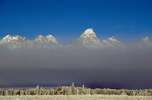 Tetons in fog, Wyoming