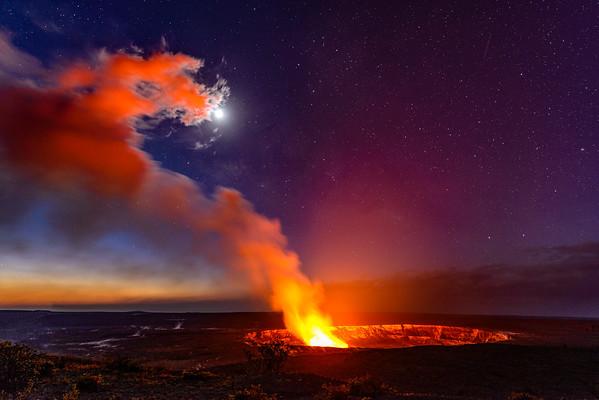 Crater glow, Kilauea Volcano, Big Island, Hawaii