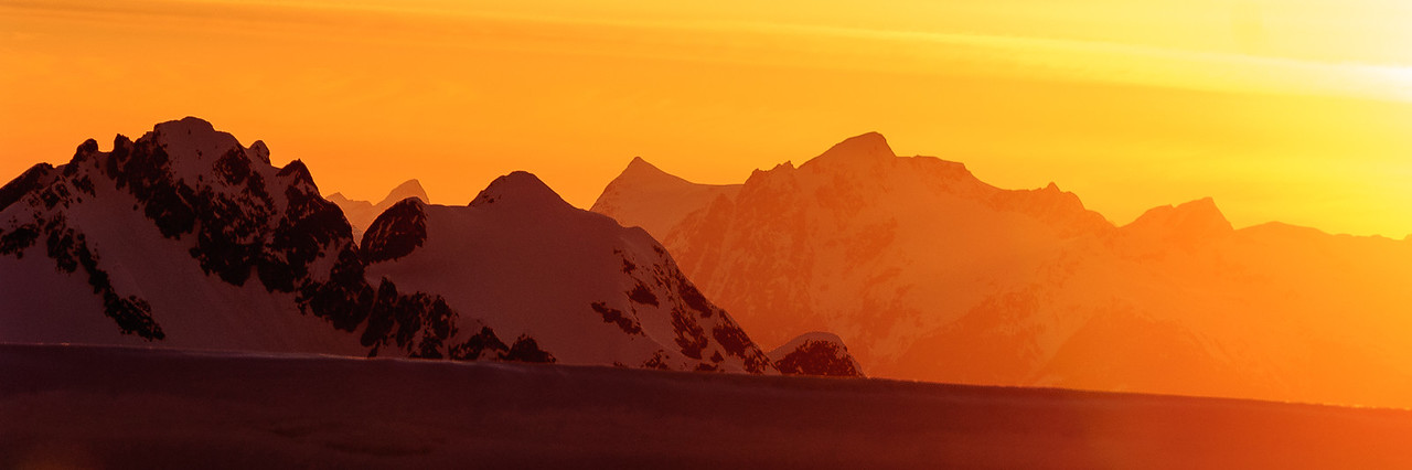 Sunset in the Caost Range, British Columbia