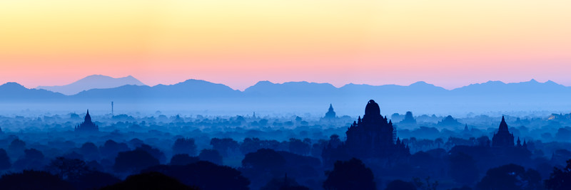 Sunset light over Bagan, Myanmar