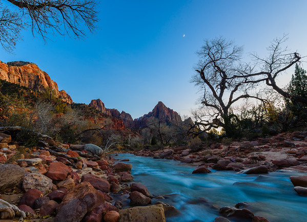 Virgin River and the Watchtower, Zion National Park, Utah