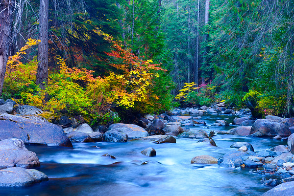 Icicle Creek in autumn, Washington