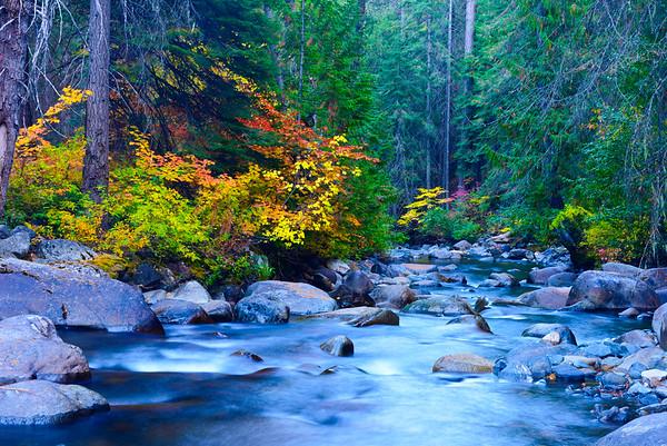 Icicle Creek in autumn, Washington