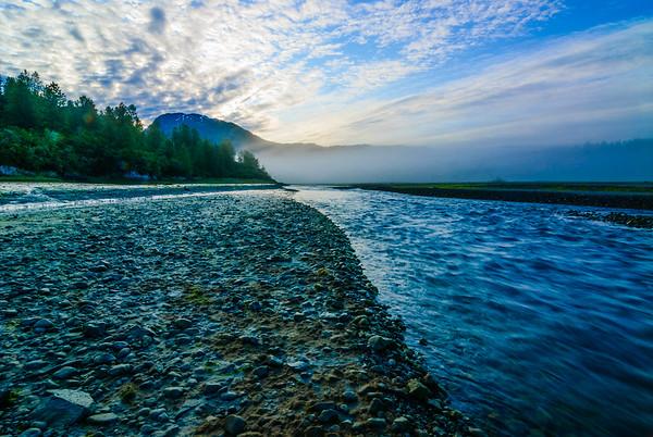 Foggy river, Glacier Bay, Alaska